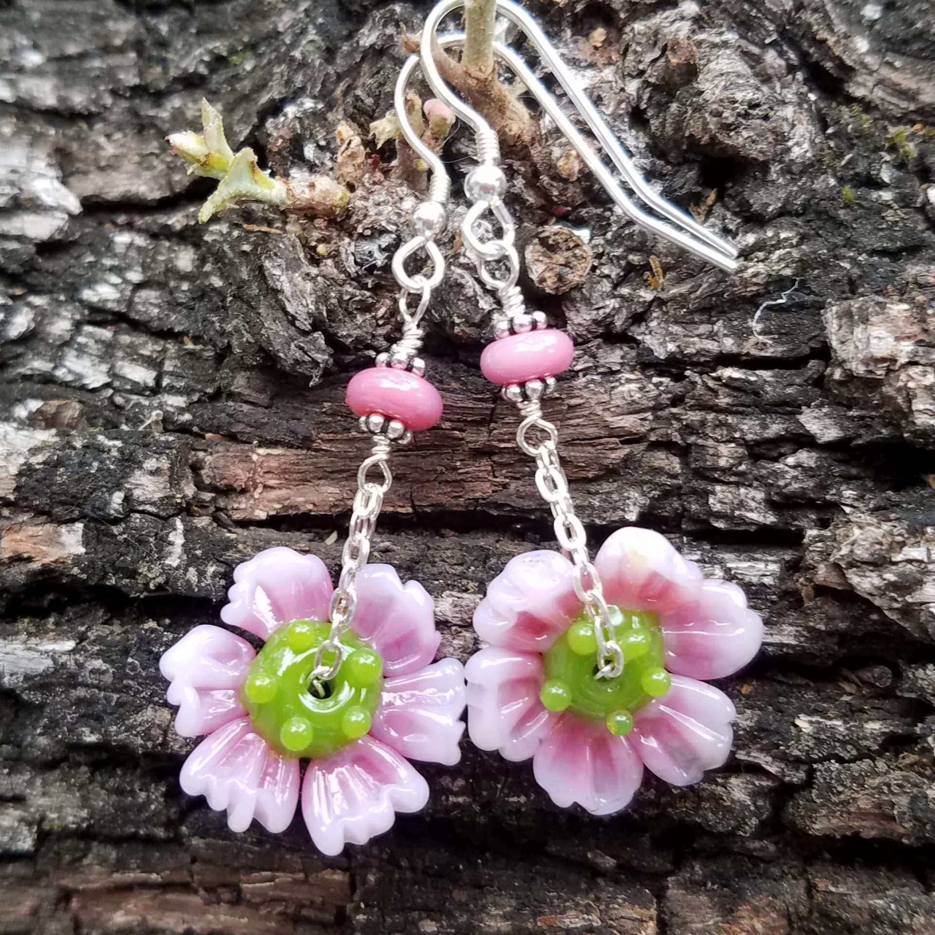 Pink Wildflower earrings