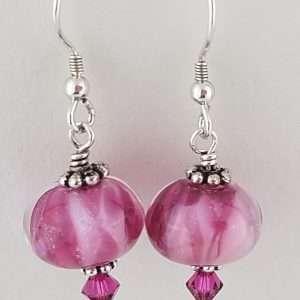 Bougainvillea Pink Frit Earrings